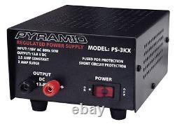 4 LOT Pyramid PS3KX 3Amp 12Volt DC Power Supply for Phones CB HAM Radio Scanner