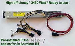 Alimentation Électrique Pour Deux (x2) Antminer L3+ Avec Câblage Pci-e Complet Installé